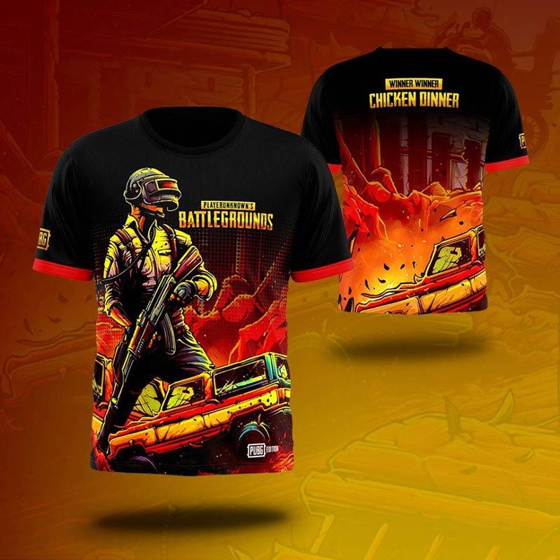 PUBG T-Shirts Red Printing